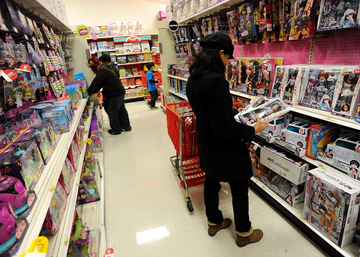 Holiday shoppers in the toy isle at the Super Target store.