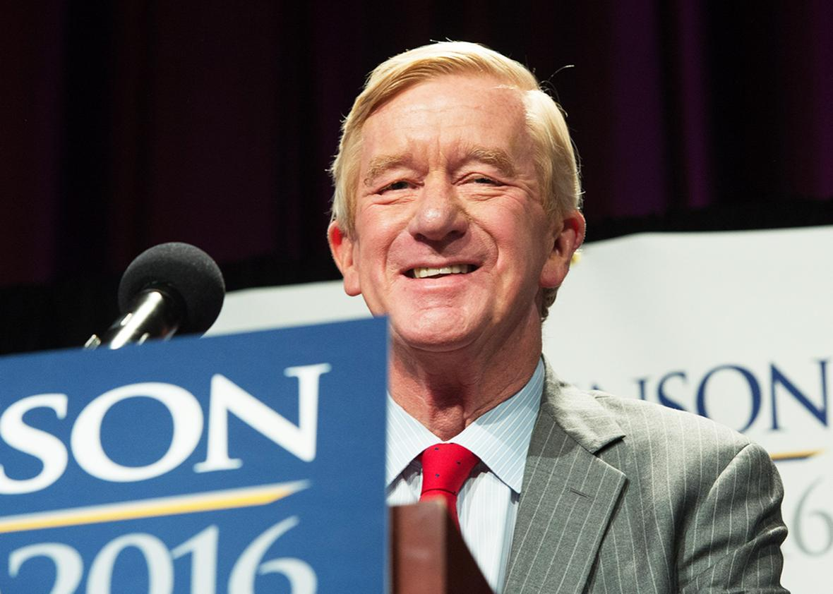 Libertarian vice-presidential candidate William Weld speaks at a rally Saturday, September 10, 2016 in New York.