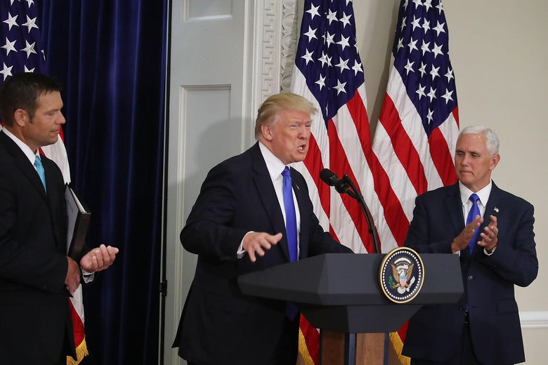 President Donald Trump speaks alongside Kansas Secretary of State, Kris Kobach (L) and Vice President Mike Pence during the first meeting of the voter fraud commission on July 19, 2017 in Washington, DC.