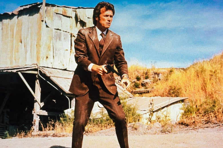 Clint Eastwood as Dirty Harry, standing outside, holding a handgun