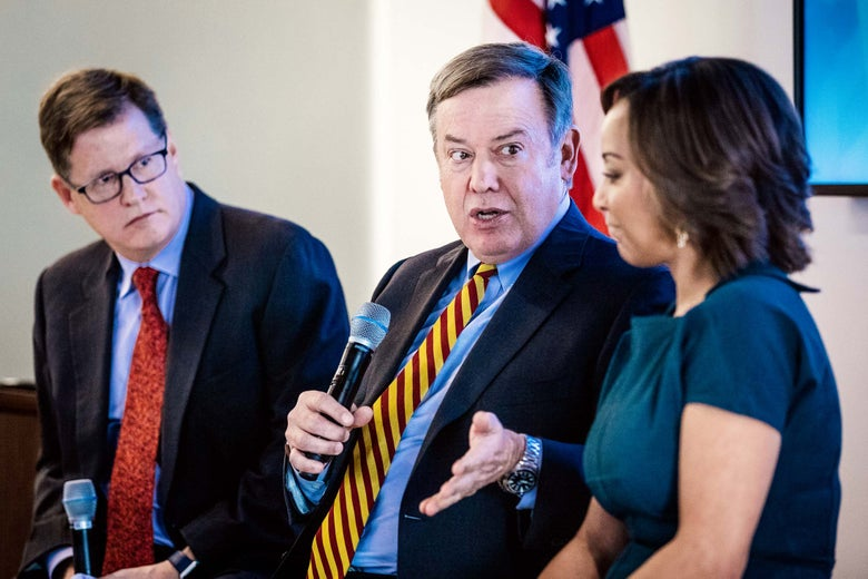 Future Tense editorial director Andrés Martinez, Arizona State University President Michael Crow, and Waymo global head of policy Tekedra Mawakana.