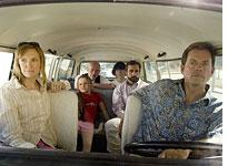 From left to right, Toni Collette, Abigail Breslin, Alan Arkin, Paul Dano, Steve Carell and Greg Kinnear in Little Miss Sunshine. Click image to expand.
