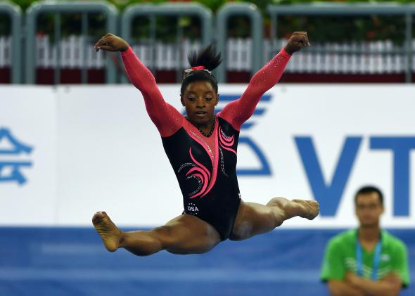 U.S. gymnast Simone Biles performs during the women's floor exercise final at the Gymnastics World Championships in Nanning, China, on Oct. 12, 2014