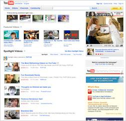 YouTube home page.