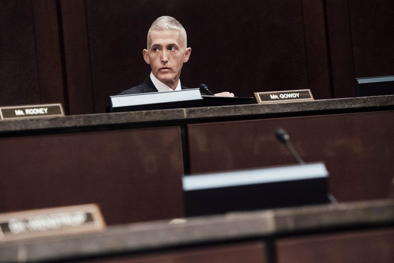 South Carolina Rep. Trey Gowdy waits for former CIA Director John Brennan to testify during a House Permanent Select Committee on Intelligence hearing on May 23, 2017, in Washington.