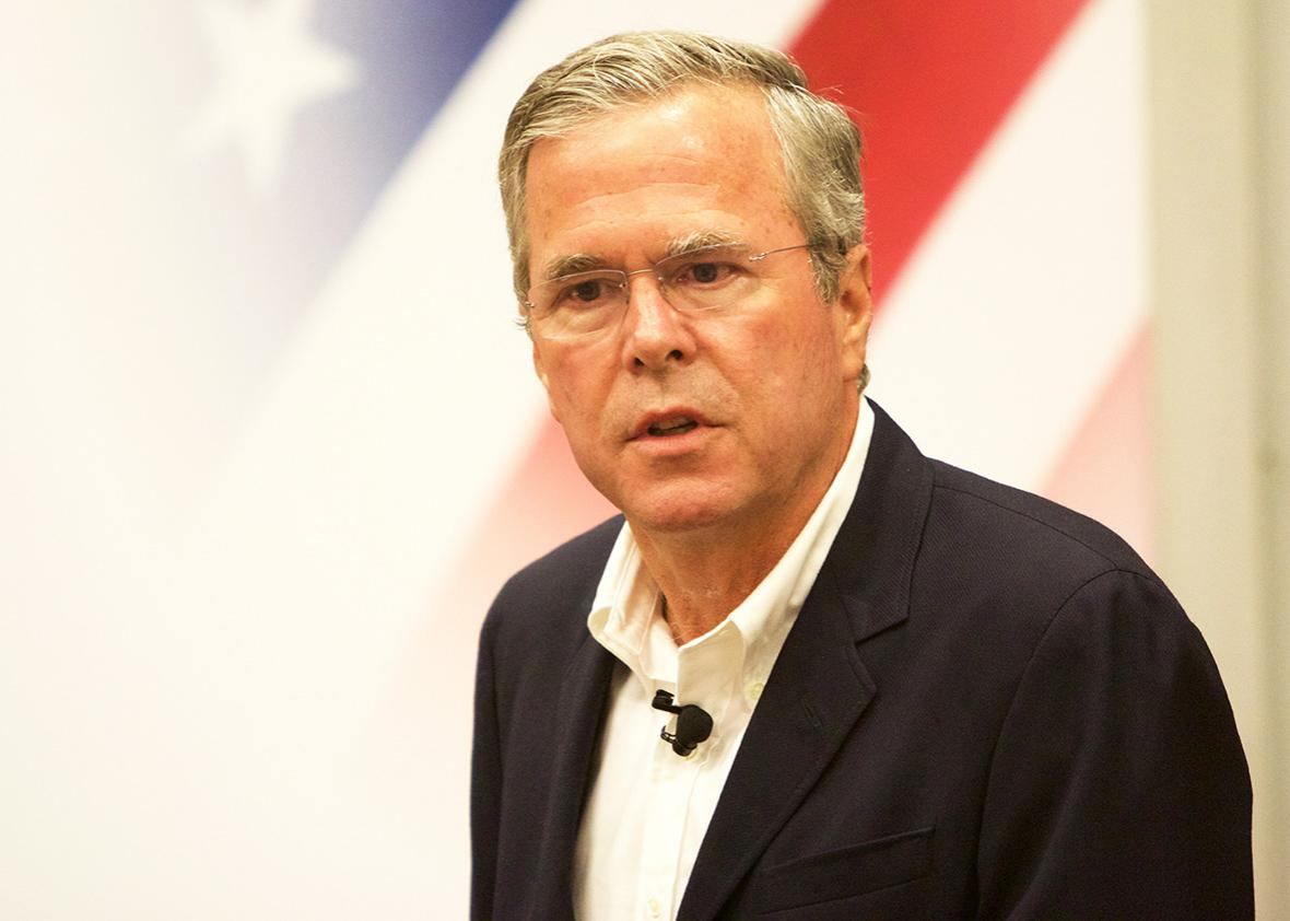 Jeb Bush speaks at a public gathering on July 13, 2015, in Sioux City, Iowa.