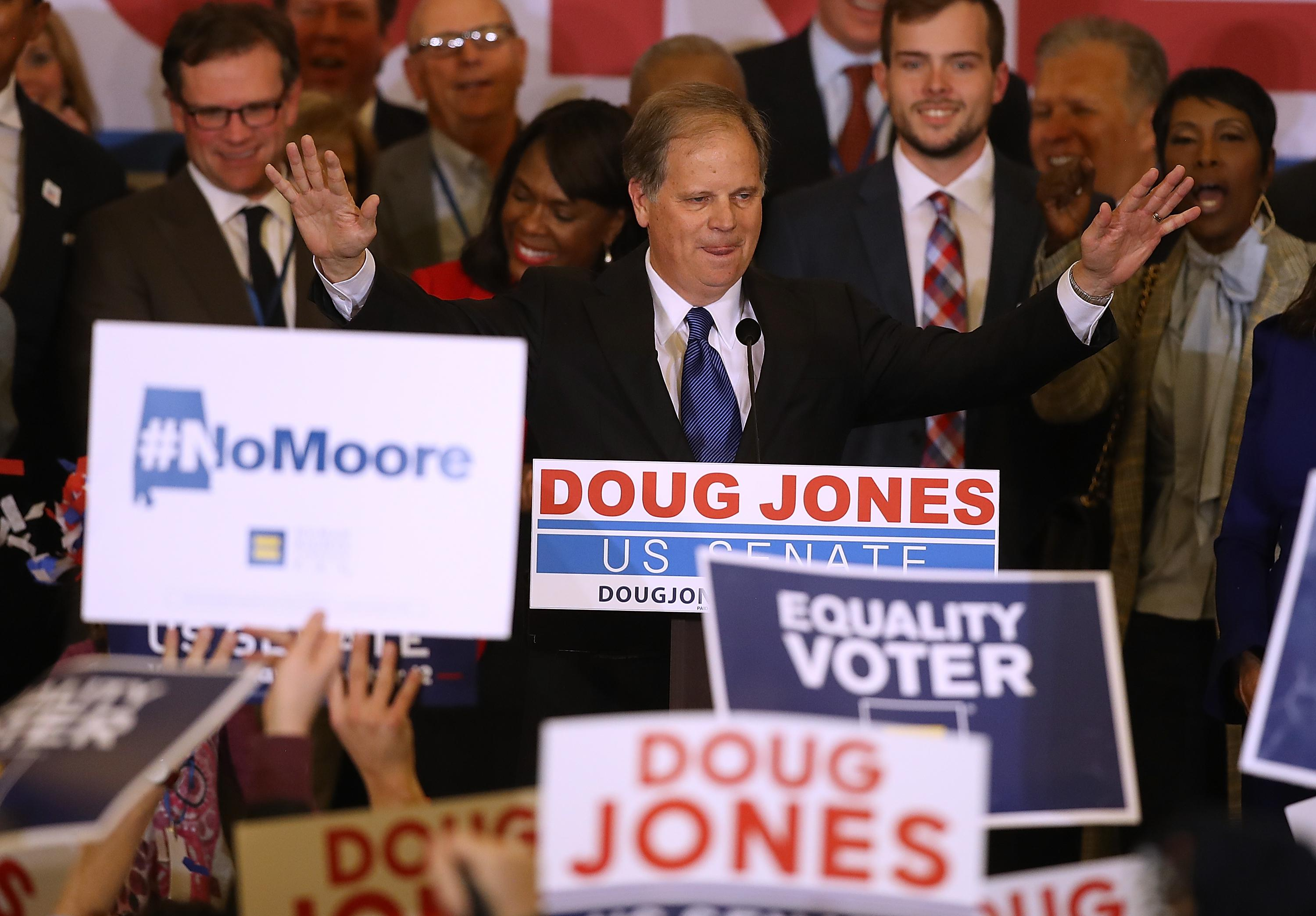 BIRMINGHAM, AL - DECEMBER 12:  Democratic U.S. Senator elect Doug Jones speaks to supporters during his election night gathering the Sheraton Hotel on December 12, 2017 in Birmingham, Alabama.  Doug Jones defeated his republican challenger Roy Moore to claim Alabama's U.S. Senate seat that was vacated by attorney general Jeff Sessions. (Photo by Justin Sullivan/Getty Images)