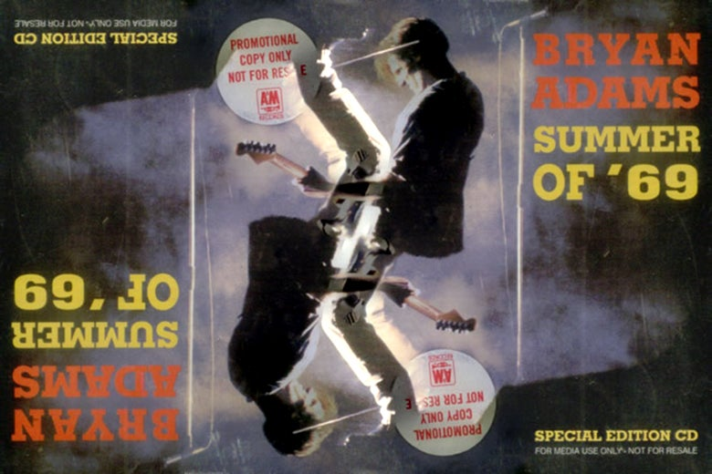 "Two images of the cover for Bryan Adams' ""Summer of '69"" single, inverted and superimposed on each other."
