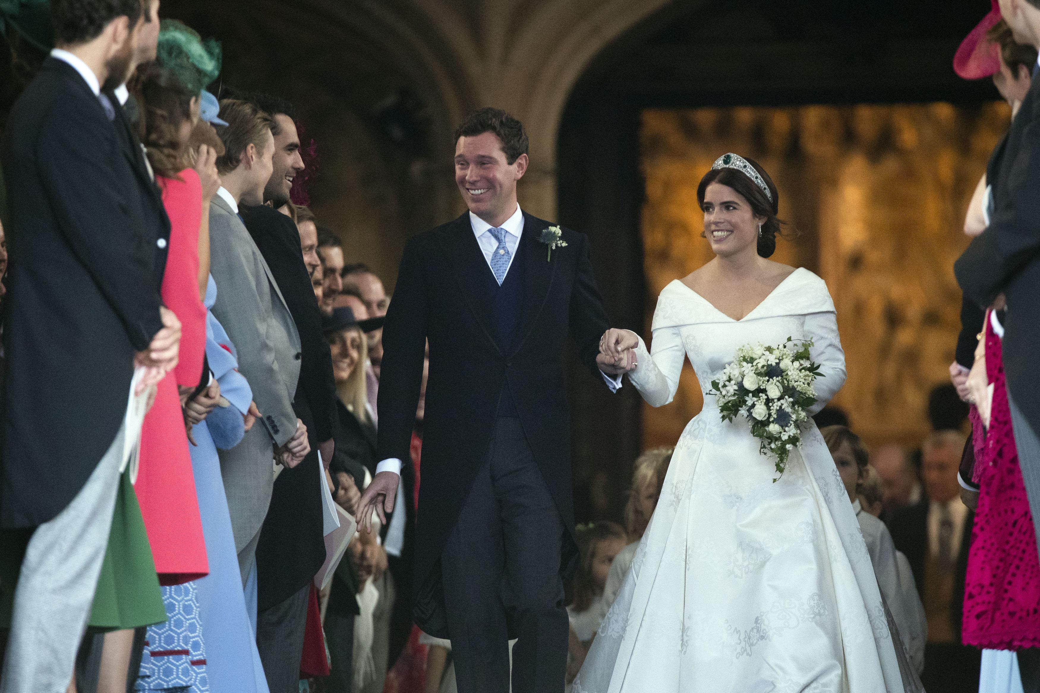 Britain's Princess Eugenie of York and her husband Jack Brooksbank at their wedding ceremony in St. George's Chapel in Windsor on Friday.