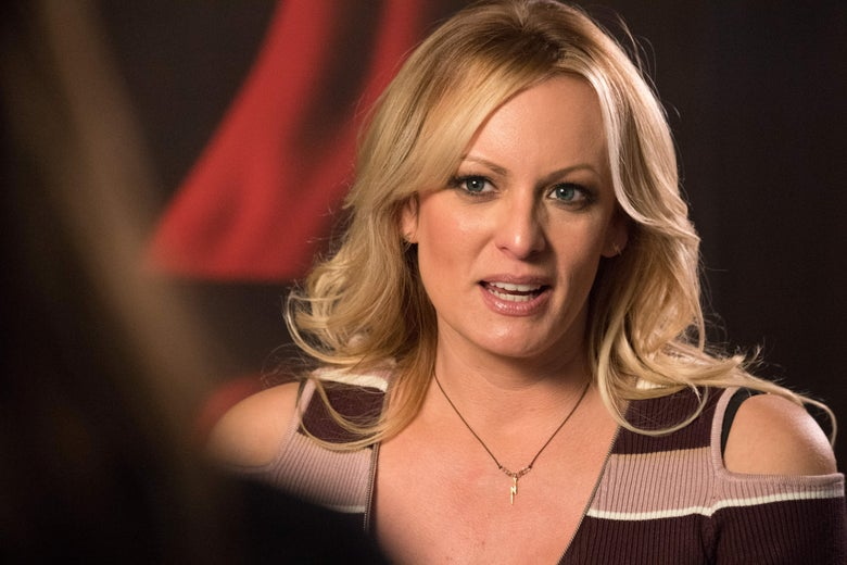 Stormy Daniels speaks to an interviewer.
