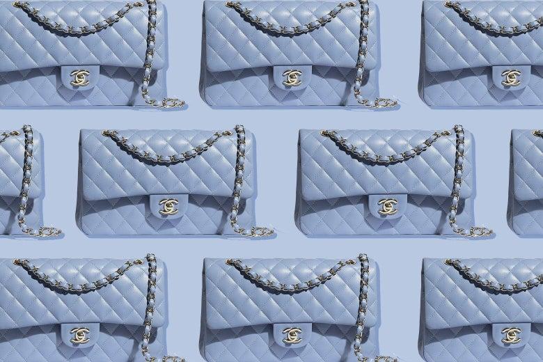 Periwinkle Chanel handbags.