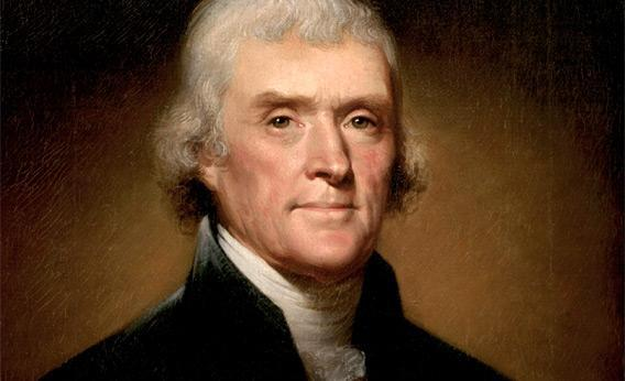 Portrait of Thomas Jefferson by Rembrandt Peale in 1800.