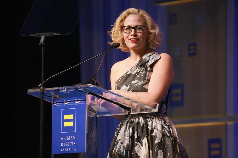 Rep. Kyrsten Sinema speaks at the Human Rights Campaign 2018 gala in Los Angeles.