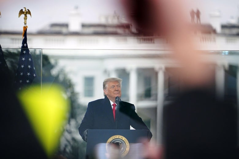 US President Donald Trump speaks to supporters from The Ellipse near the White House on January 6, 2021.