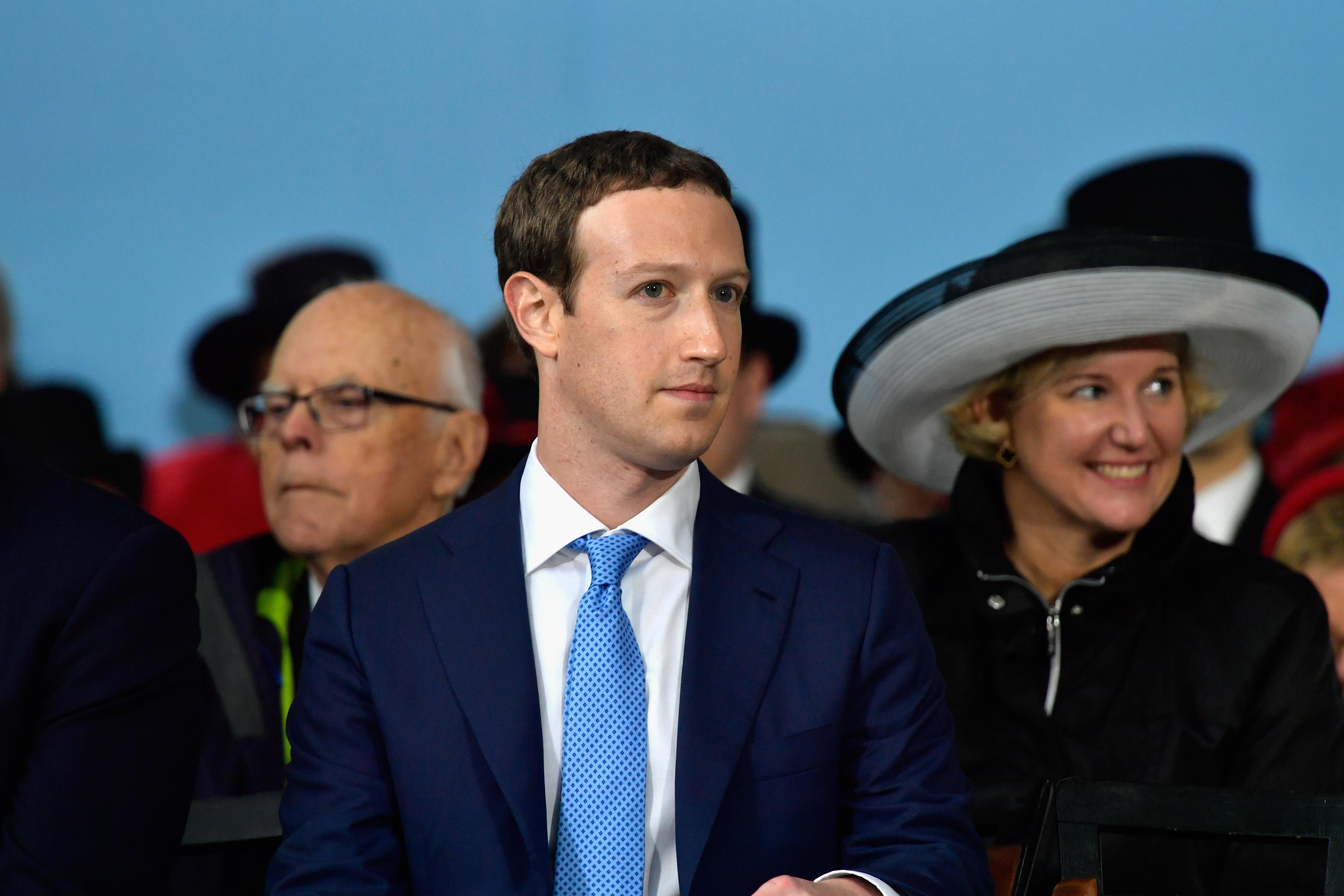Facebook Founder and CEO Mark Zuckerberg delivers the commencement address at the Alumni Exercises at Harvard on May 25, 2017 in Cambridge, Mass