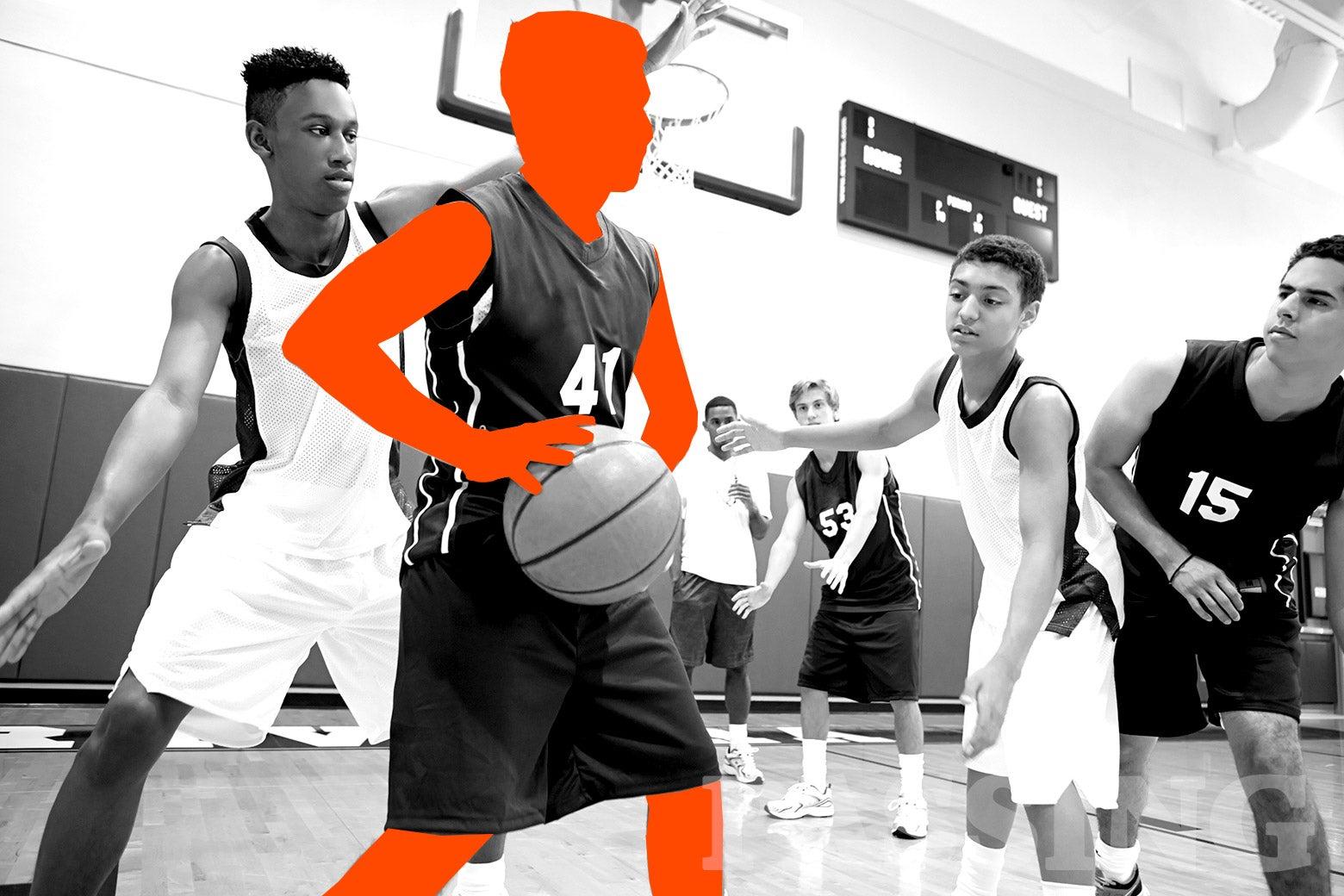 A high school basketball game.