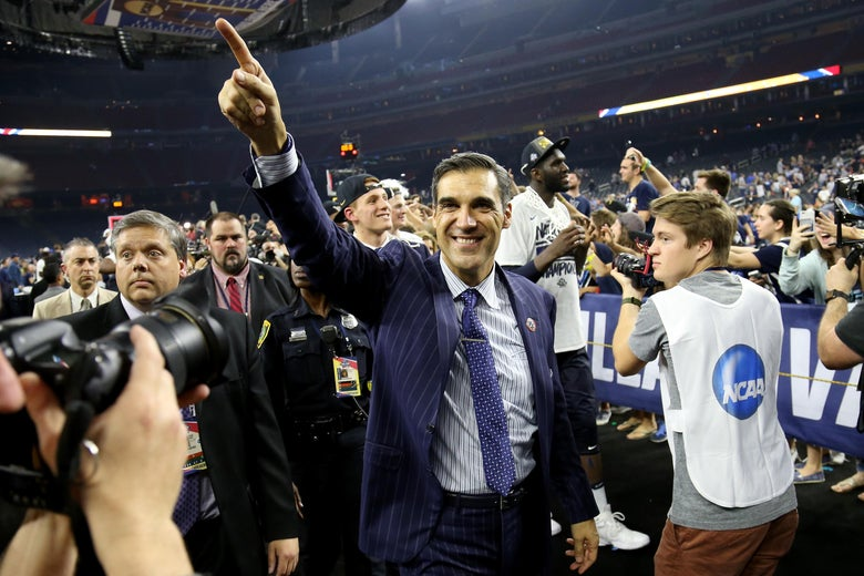 HOUSTON, TEXAS - APRIL 04:  Head coach Jay Wright of the Villanova Wildcats celebrates defeating the North Carolina Tar Heels 77-74 to win the 2016 NCAA Men's Final Four National Championship game at NRG Stadium on April 4, 2016 in Houston, Texas.  (Photo by Streeter Lecka/Getty Images)