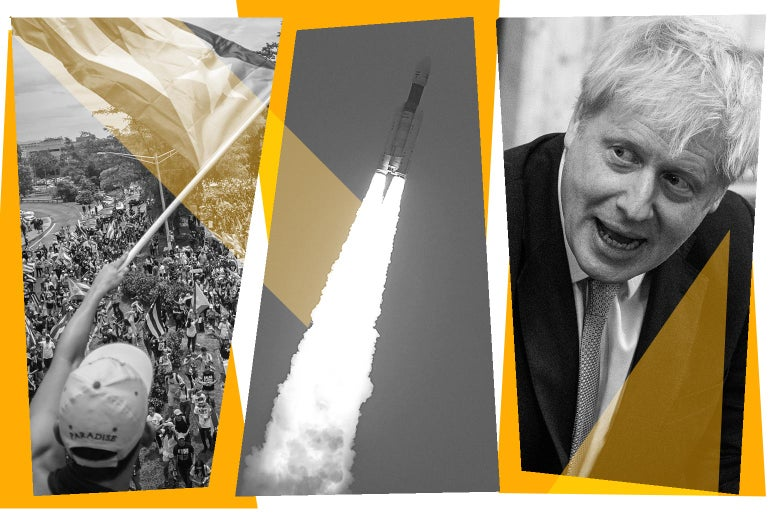 Photo illustration of a person waving a flag, a moon-bound rocket, and Boris Johnson