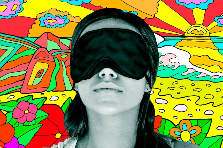 Woman wearing a sleeping mask, with a psychedelic landscape in the background.