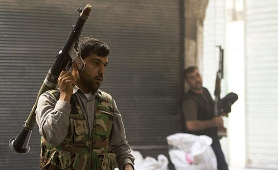 Syrian rebel fighters in Aleppo.