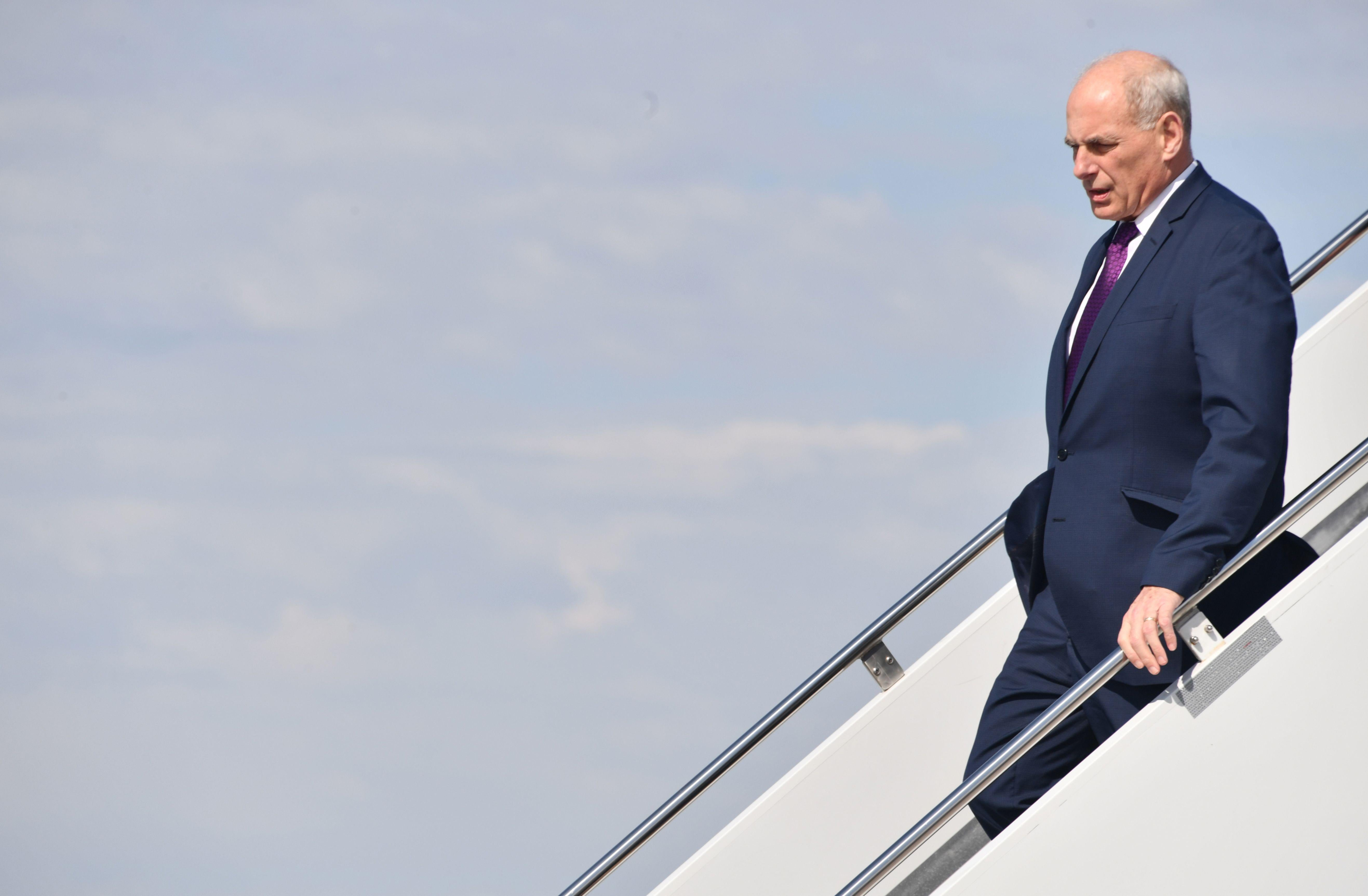 White House chief of staff John Kelly arrives at Hector International Airport in Fargo, North Dakota, on September 7, 2018. (Photo by Nicholas Kamm / AFP)        (Photo credit should read NICHOLAS KAMM/AFP/Getty Images)