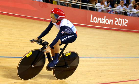Laura Trott of Great Britain celebrates winning the Gold medal in the Women's Omnium Track Cycling 500m.
