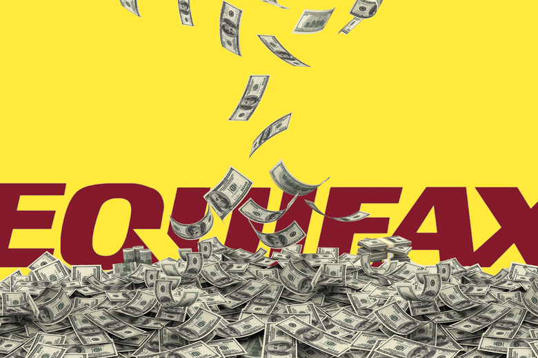Money falling and piling up in front of an Equifax logo.