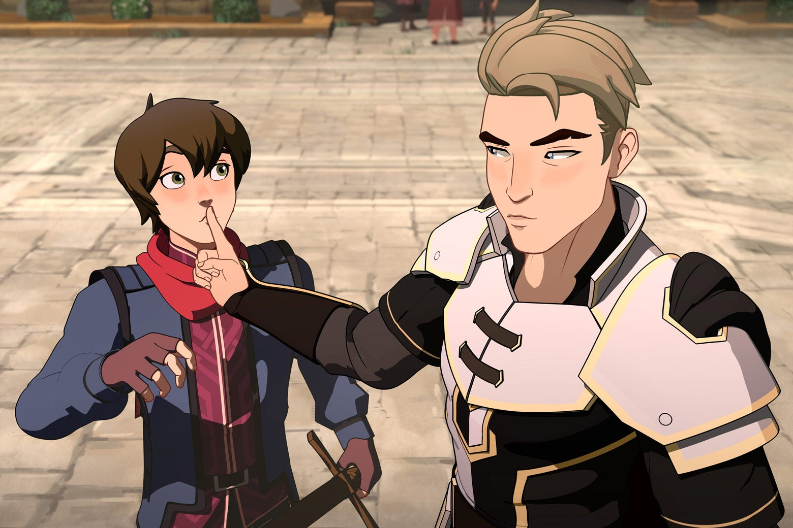 In a frame from the animated show The Dragon Prince, Soren holds a finger to Callum's lips to shush him. Callum's face is shocked, probably, and Soren looks serious.