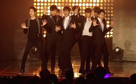 Super Junior perform during the MBC Music Festival.