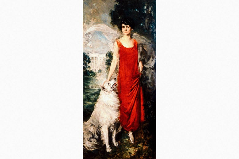 Howard Chandler Christy's oil portrait of Grace Coolidge in a long red dress, with a white collie looking up at her adoringly.