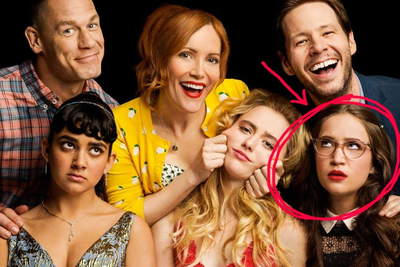 The cast of Blockers with Sam's character circled in red with an arrow pointing to her.