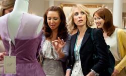 Still of Rose Byrne, Kristen Wiig and Ellie Kemper in 'Bridesmaids.'