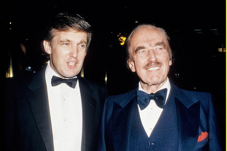 Donald Trump and Fred Trump during an undated celebration for The Art of The Deal.