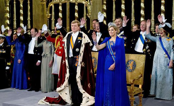 Dutch King Willem-Alexander is saluted by his wife Queen Maxima and guests during the religious crowning ceremony at the Nieuwe Kerk church in Amsterdam.