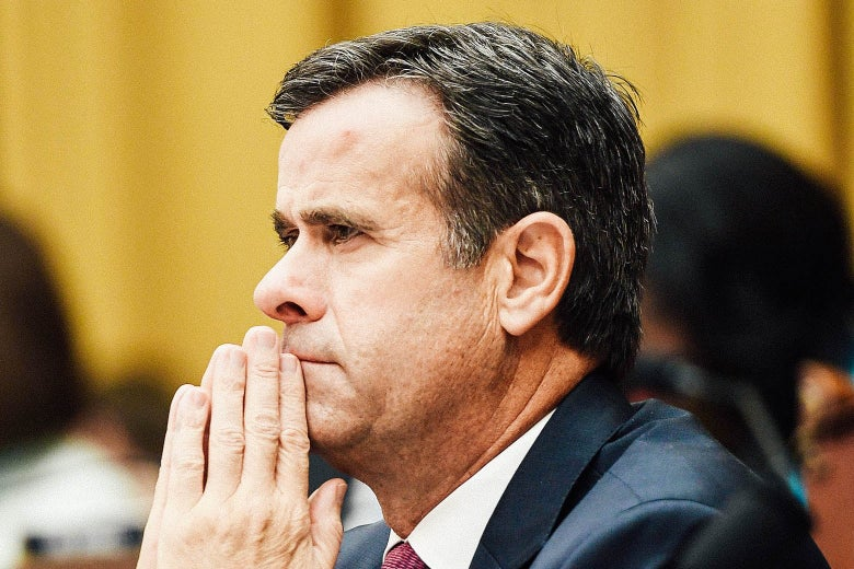 Texas Rep. John Ratcliffe leans on his hands while listening to Robert Mueller's House testimony in Washington on July 24.