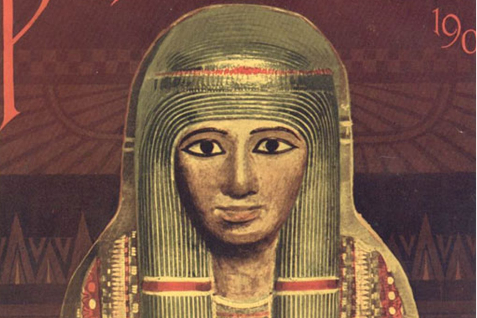 A painted mummy case on the cover of a magazine.
