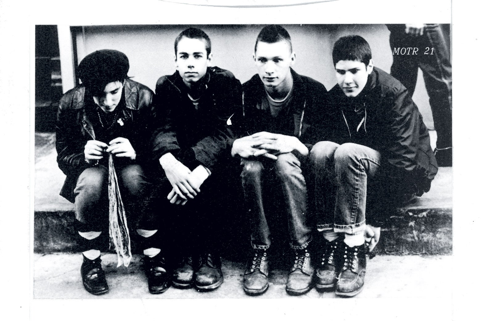 Beastie Boys, including drummer Kate Schellenbach, on the back cover of their 1982 EP Polly Wog Stew.