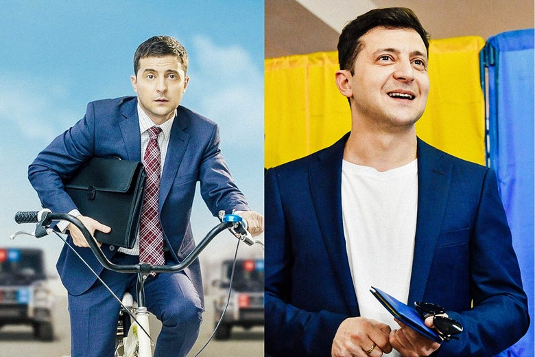 Photo collage of Zelensky in a still from the sitcom Servant of the People and at a polling station during Ukraine's election.
