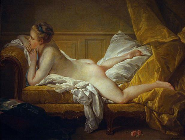 Resting Girl, probably a portrait of Marie-Louise O'Murphy, mistress to Louis XV of France.