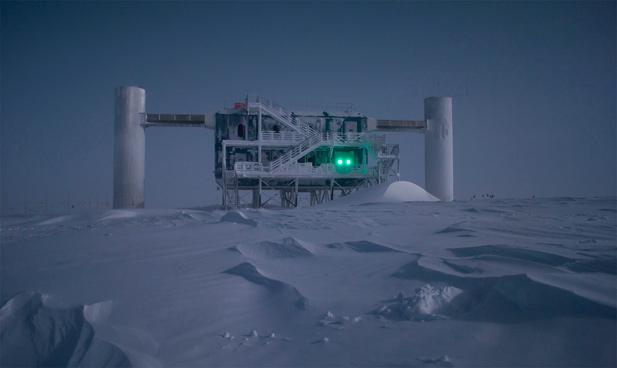 The IceCube lab, illuminated by moonlight.