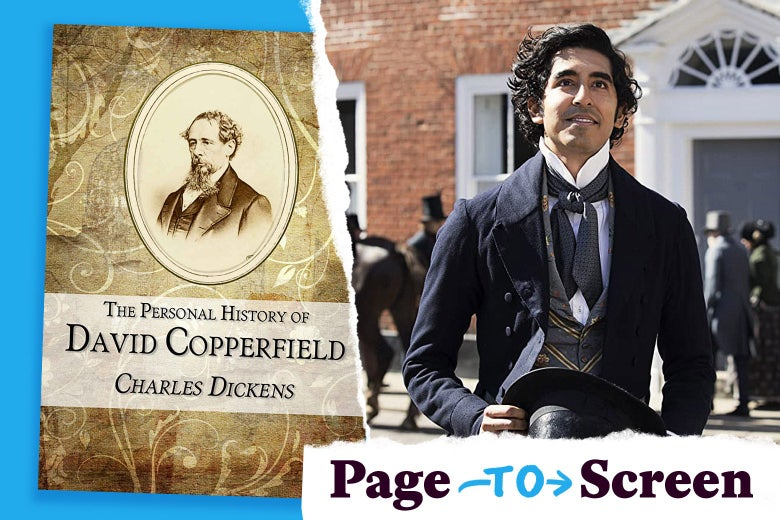 David Copperfield book cover next to a still of Dev Patel as the title character in the new movie adaptation.