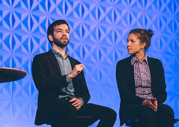 Matthew Vines and Julie Rodgers at a Q Ideas conference in Boston, April 23, 2015.
