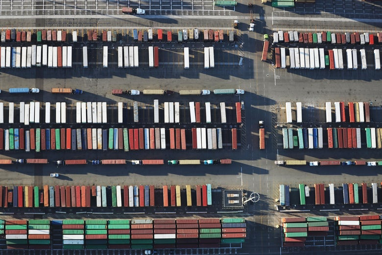 Overhead view of shipping containers