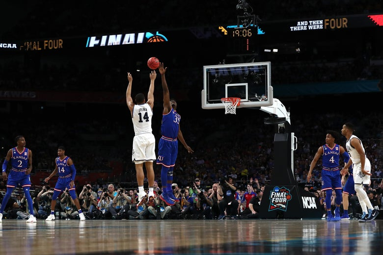 SAN ANTONIO, TX - MARCH 31: Omari Spellman #14 of the Villanova Wildcats shoots against Udoka Azubuike #35 of the Kansas Jayhawks in the first half during the 2018 NCAA Men's Final Four Semifinal at the Alamodome on March 31, 2018 in San Antonio, Texas.  (Photo by Tom Pennington/Getty Images)