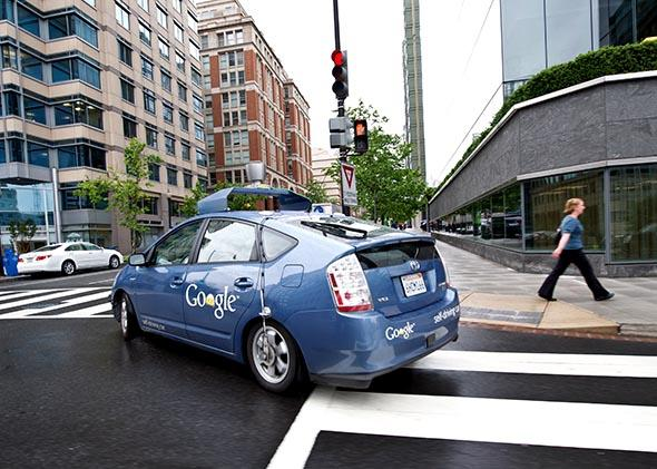 The Google self-driving car maneuvers through the streets of Washington, DC May 14, 2012.