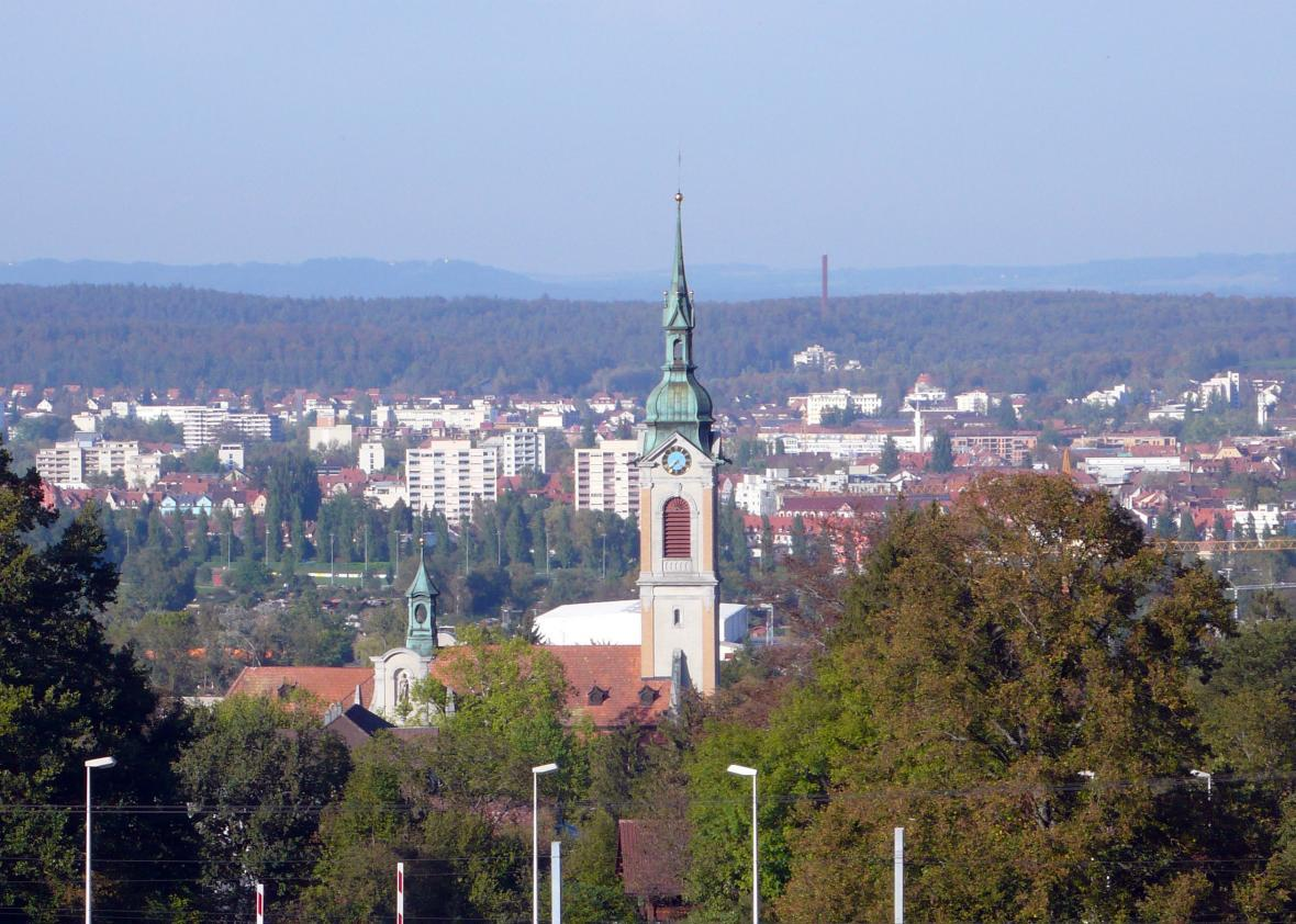 St Stephens Church in, Kreuzlingen with Konstanz (and Germany) in the background