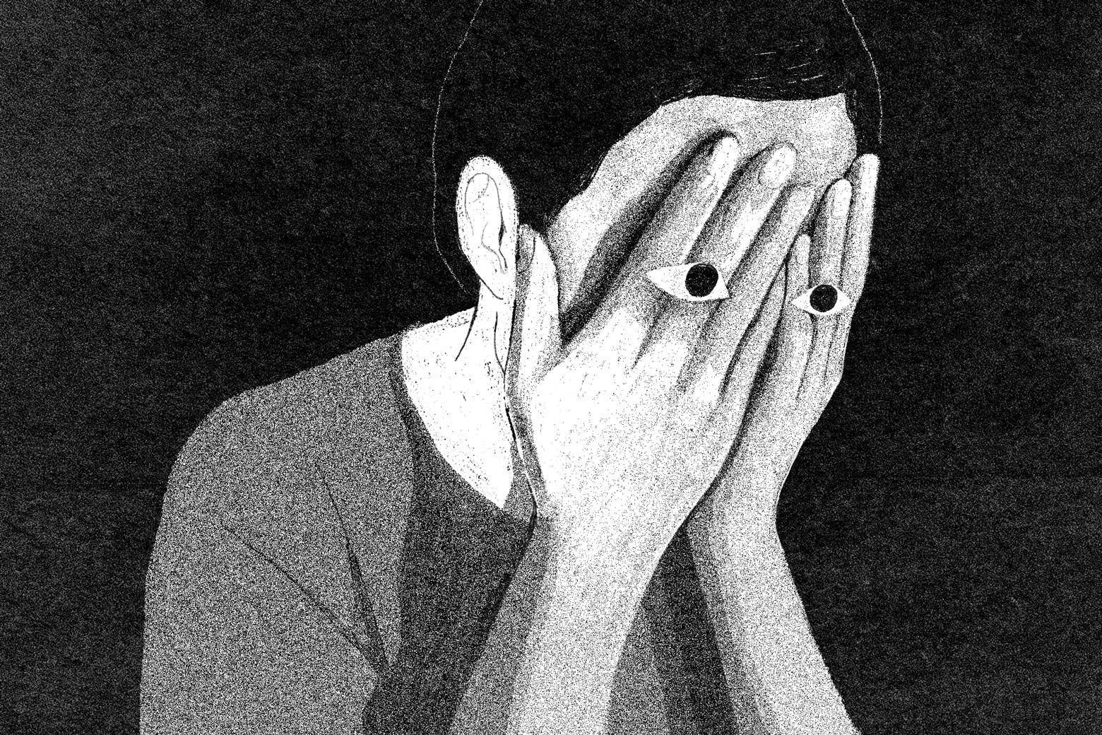 Person clasping their face with their hands, with open eyes emerging through, in a dark void.