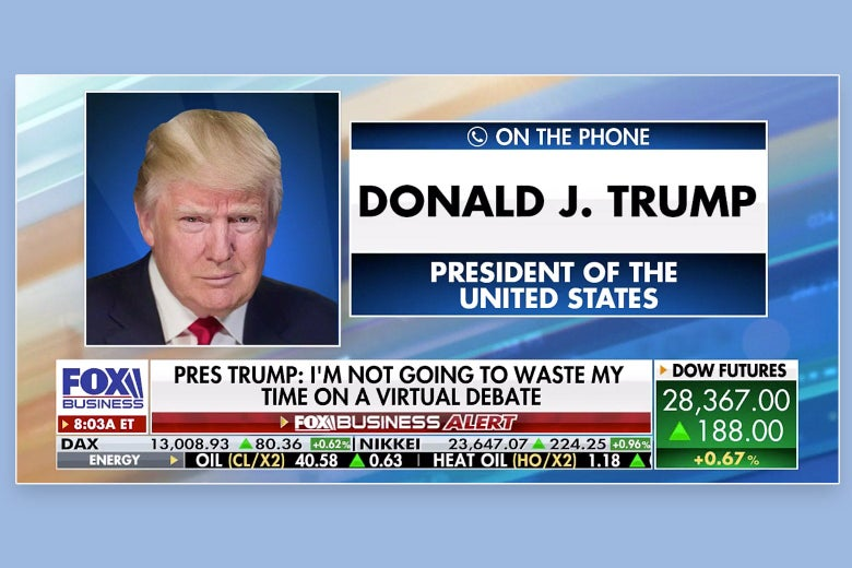 Fox News graphic for Donald Trump calling into the morning business show.