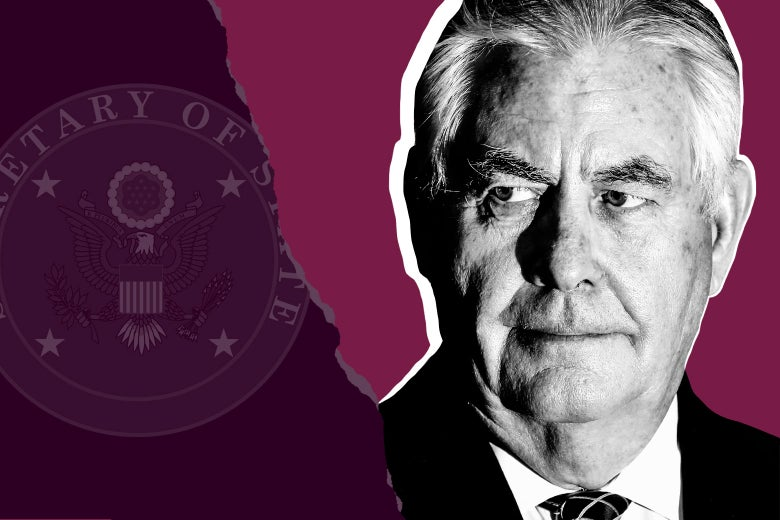 The secretary of state seal and Rex Tillerson.