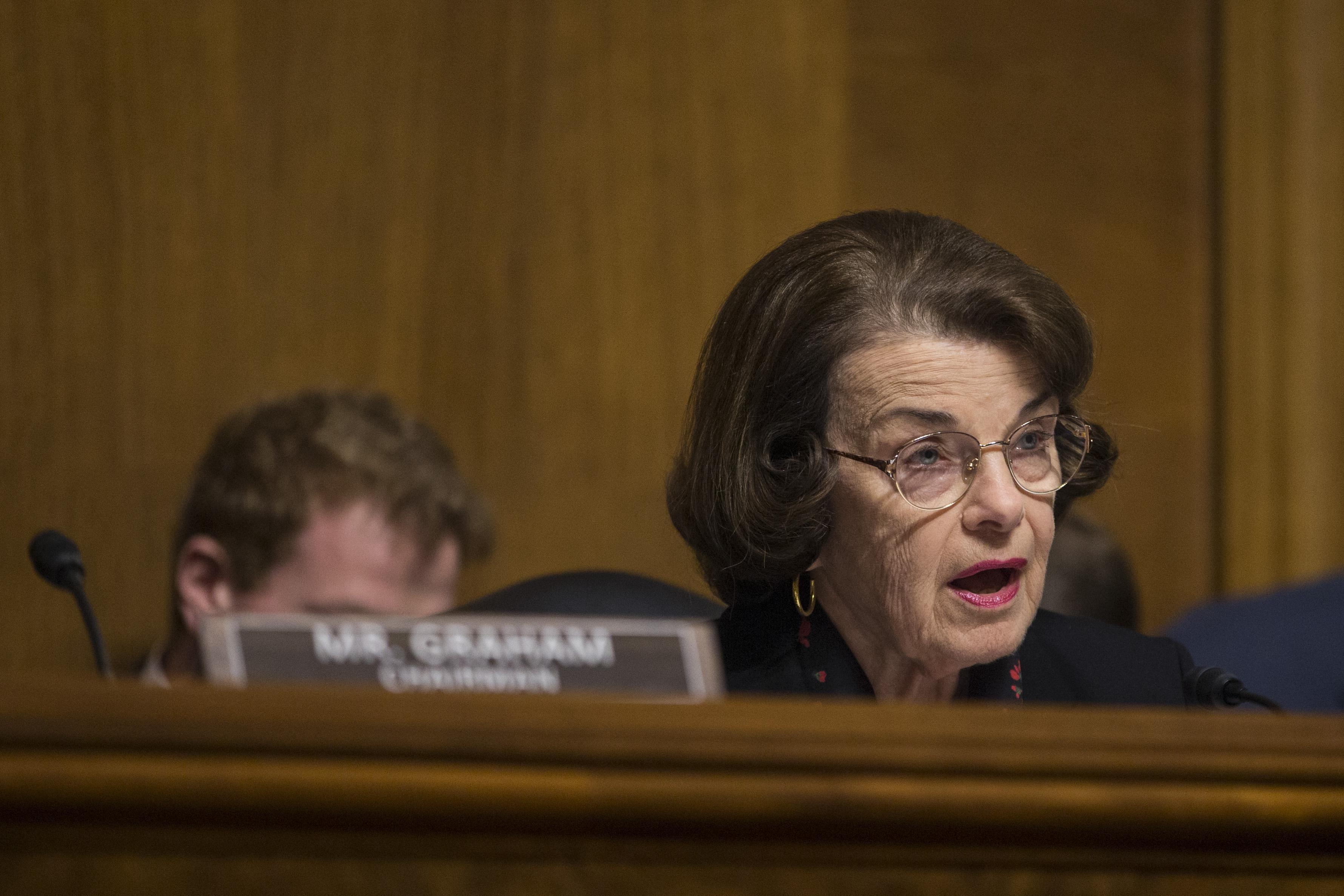 Sen. Dianne Feinstein (D-CA) speaks on Capitol Hill on February 5, 2019 in Washington, D.C.